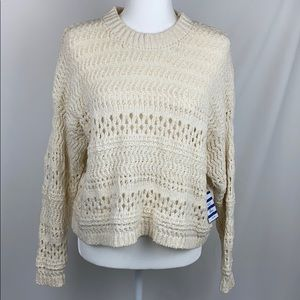 Forever 21 Cream Chunky Open-Knit Pullover Sweater